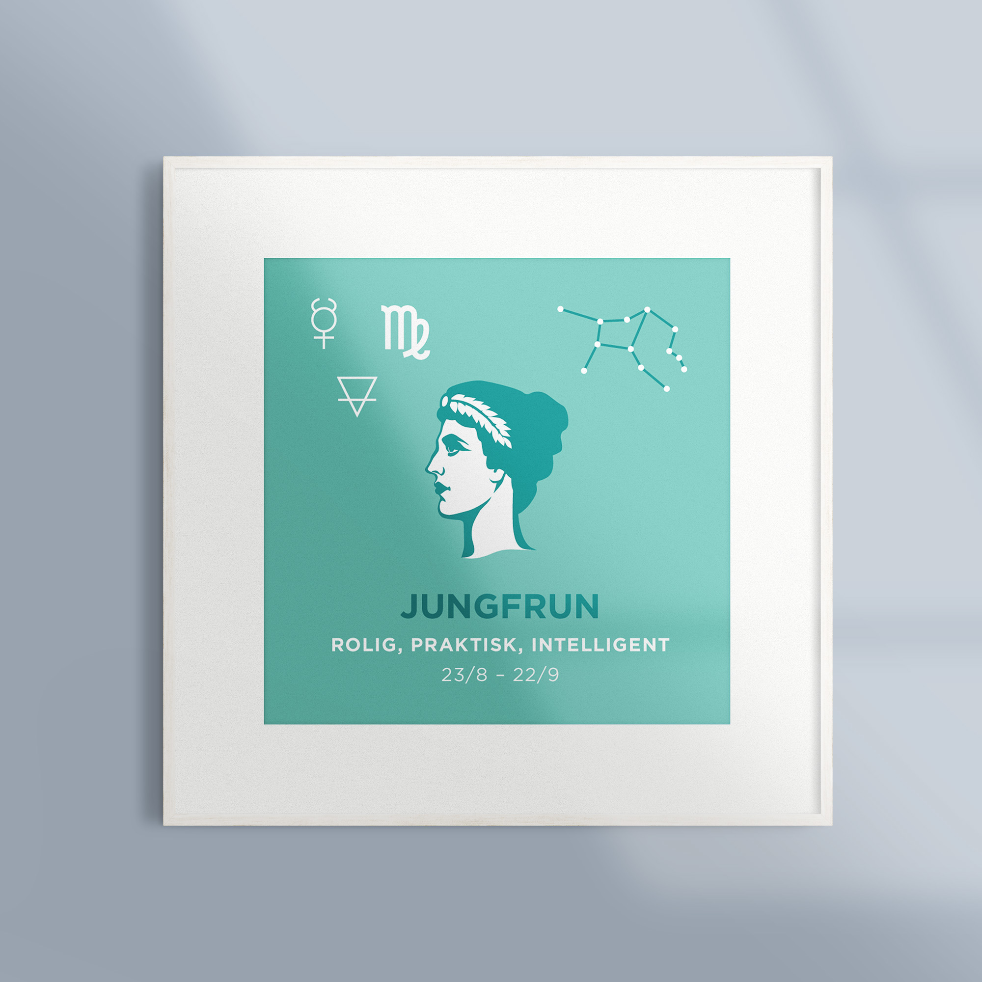 Poster Tavla Stjarntecken Jungfrun Turkos Ram Vit