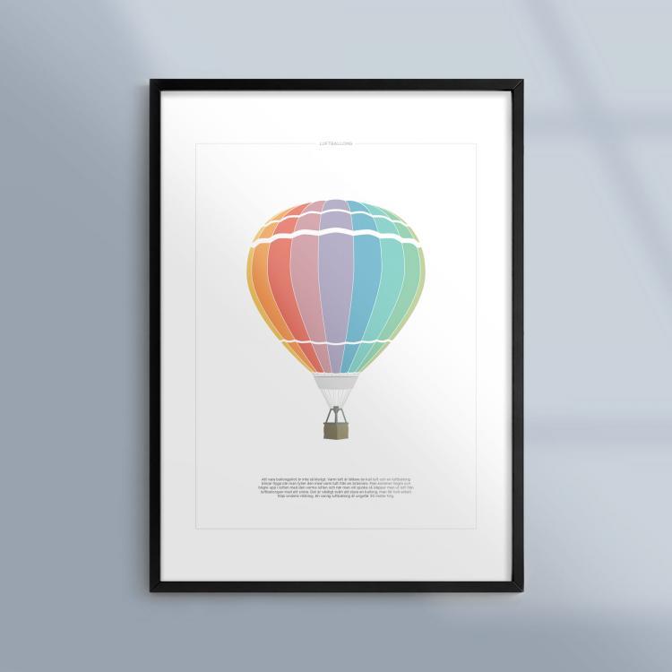 Kunskapsposter Tavla Affisch Luftballong Ram