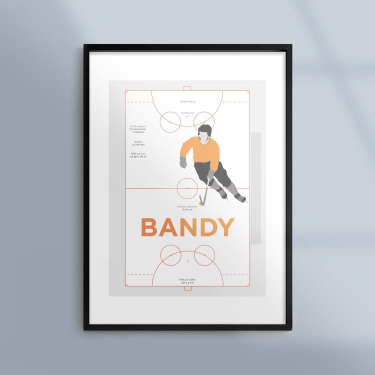 Poster-Affisch-Idrott-Sport-Bandy-Ram-Kunskapat