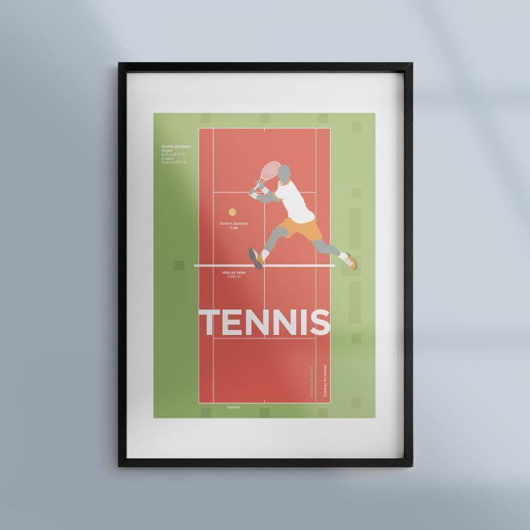 Poster-Affisch-Idrott-Sport-Tennis-Ram