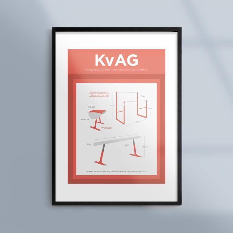 Poster-Tavla-Kvinnlig-Artistisk-Gymnastik-Ram-Kunskapat