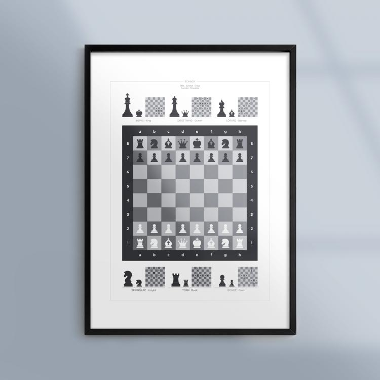 Poster-Tavla-Schack-Spel-Ram-Kunskapat