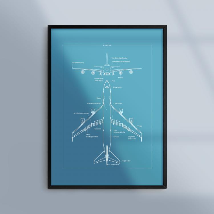 Poster-Tavla-Flygplan-Flyg-Blueprint-Ram-Kunskapat