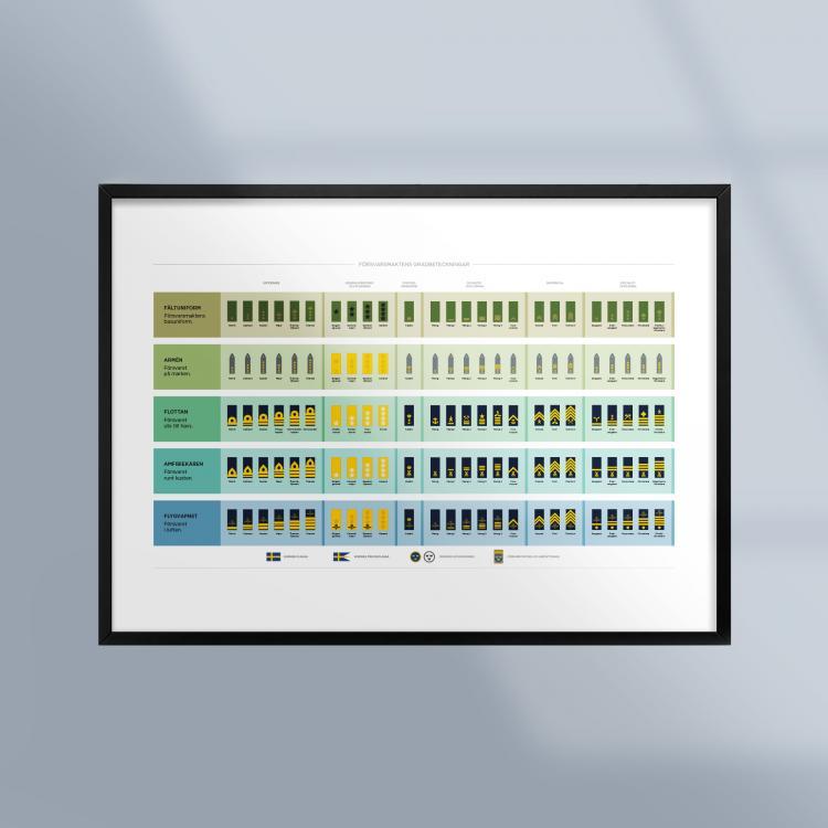 Poster-Tavla-Forsvarsmaktens-Gradbeteckningar-Militar-Ram-Kunskapat
