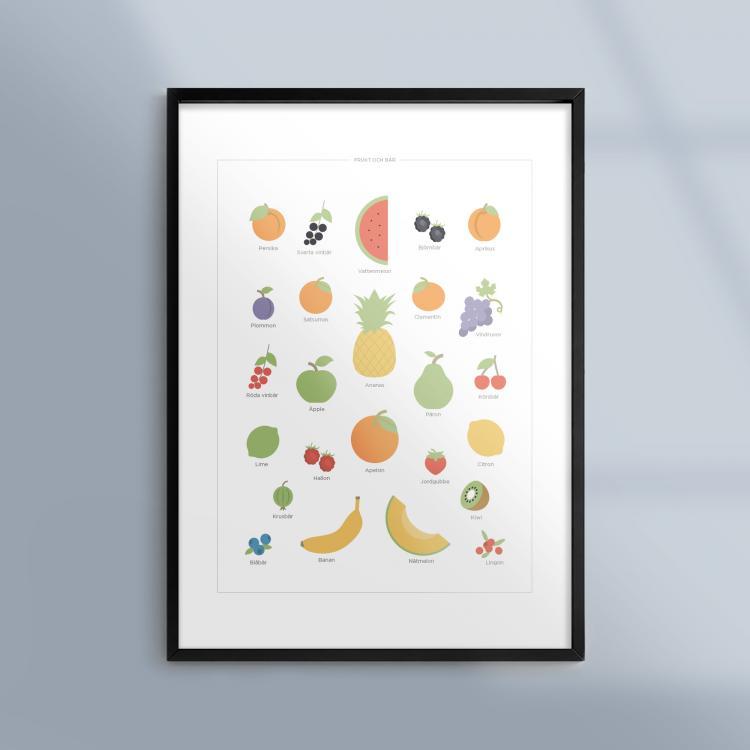Poster-Kokstavla-Frukt-Bar-Mat-Ram-Kunskapat