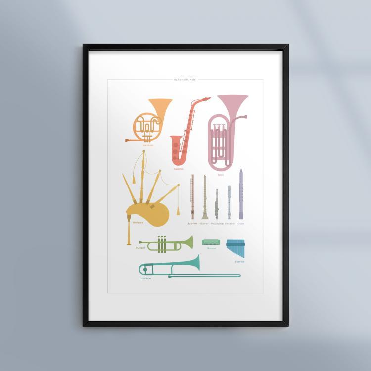 Poster-Tavla-Musik-Blasinstrument-Ram-Kunskapat