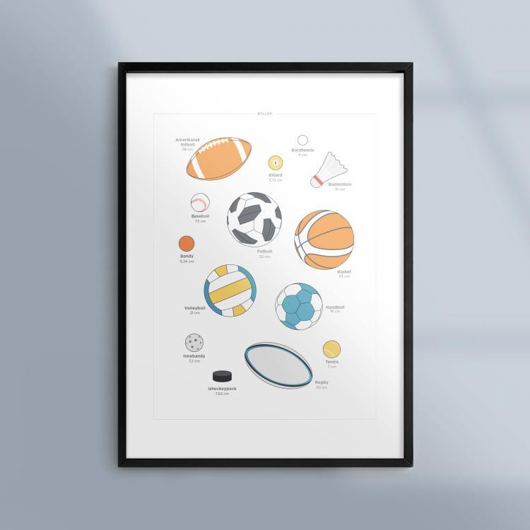 Poster-Tavla-Idrott-Bollar-Sport-Ram-Kunskapat