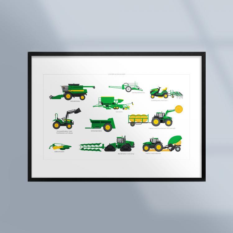 Poster-Tavla-Jordbruksmaskiner-Traktor-Ram-Kunskapat
