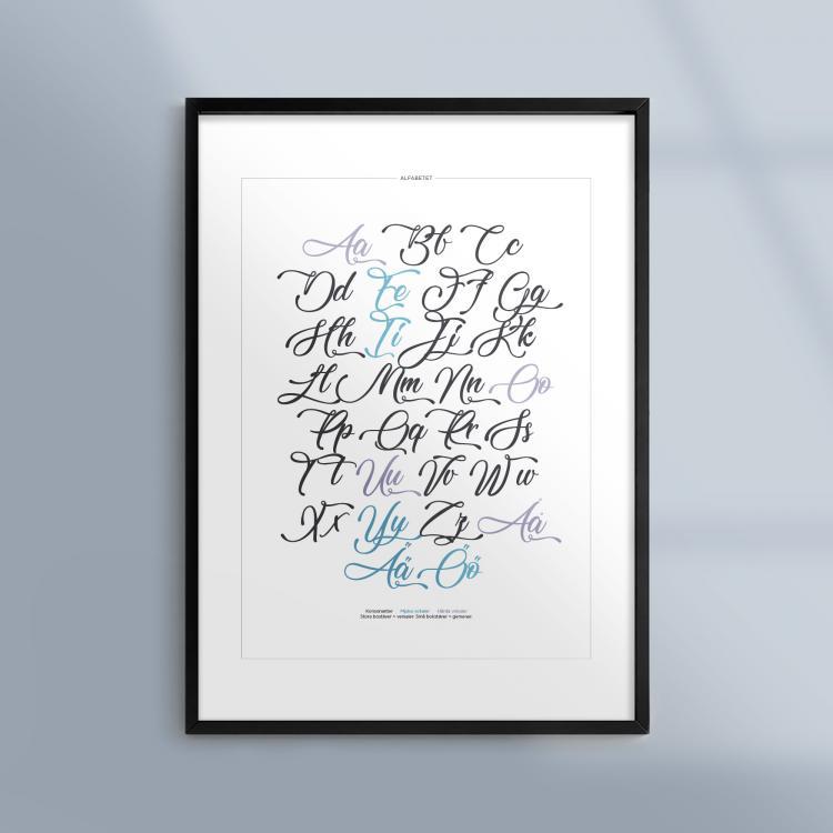 Poster-Tavla-Alfabetet-Kalligrafi-Skrivstil-Ram-Kunskapat