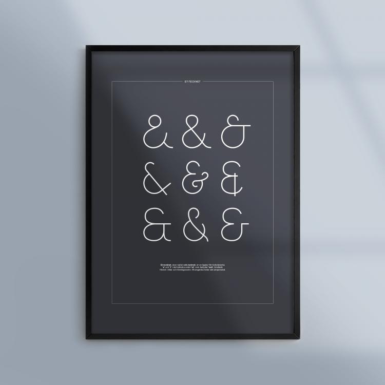 Poster-Tavla-Et-tecken-Ampersand-Mork-Ram-Kunskapat