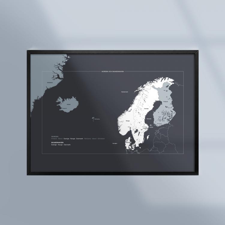 Poster-Tavla-Norden-Skandinavien-Geografi-Ram-Kunskapat