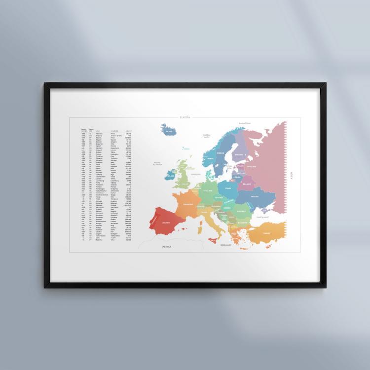 Kunskapsposter Tavla Karta Europa Geografi Ram
