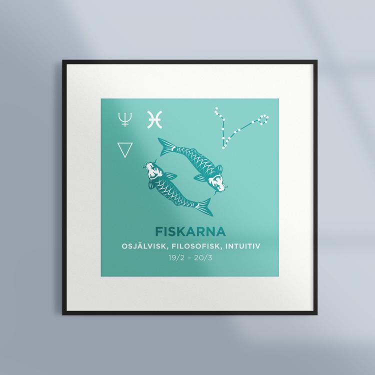 Poster-Tavla-Stjarntecken-Fiskarna-Turkos-Ram-Kv