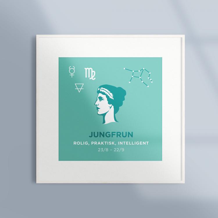 Poster-Tavla-Stjarntecken-Jungfrun-Turkos-Ram-Vit