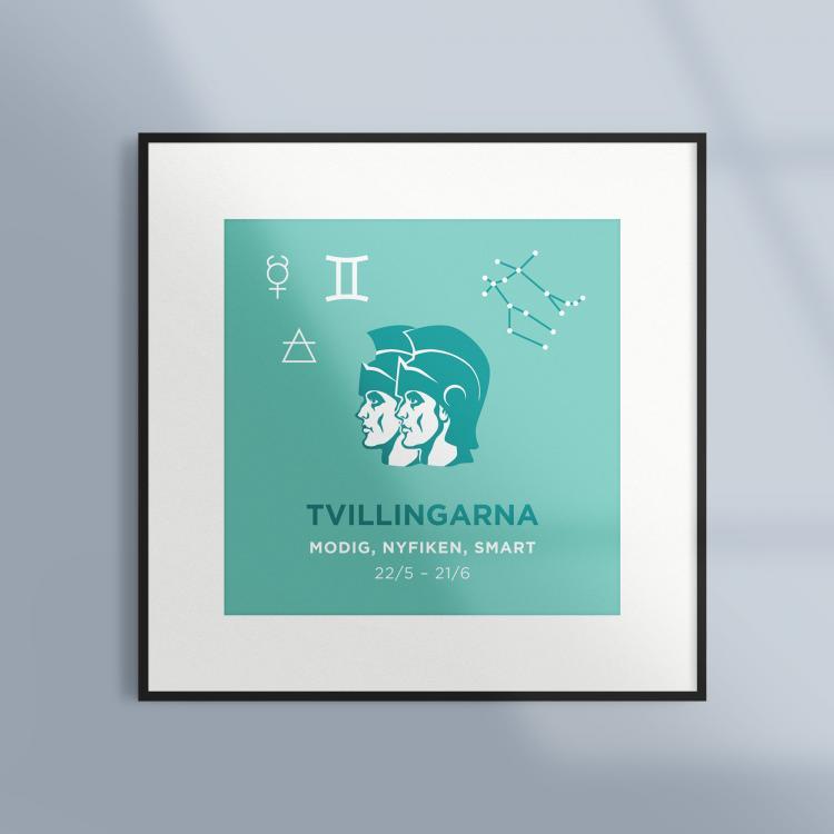 Poster-Tavla-Stjarntecken-Tvillingarna-Turkos-Ram