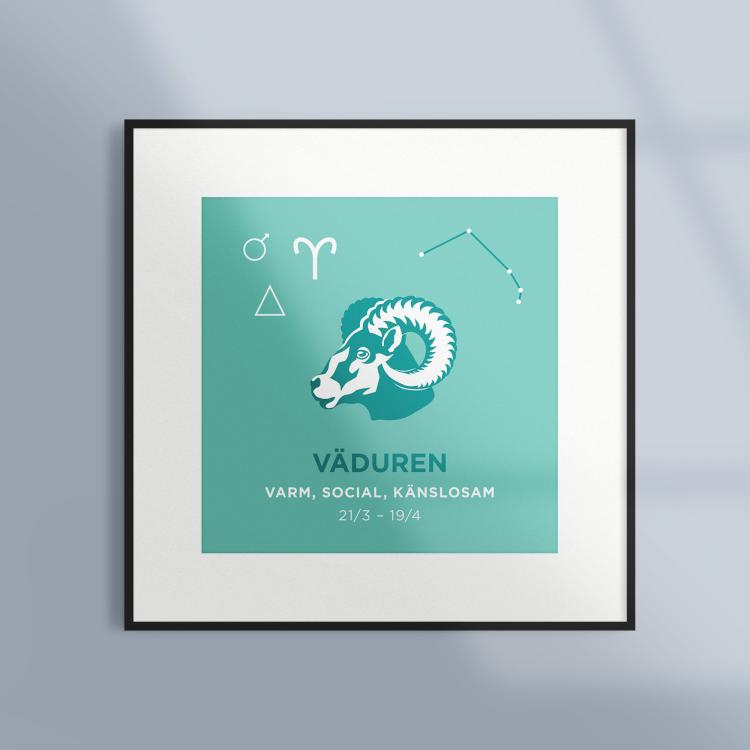 Poster-Tavla-Stjarntecken-Vaduren-Turkos-Ram